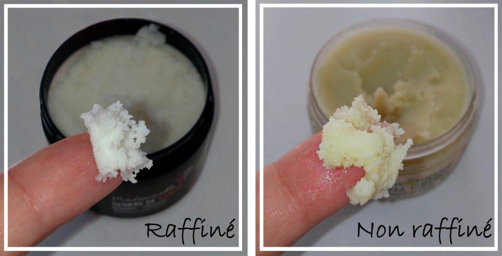 beurre de karité comparaison raffiné et non-raffiné
